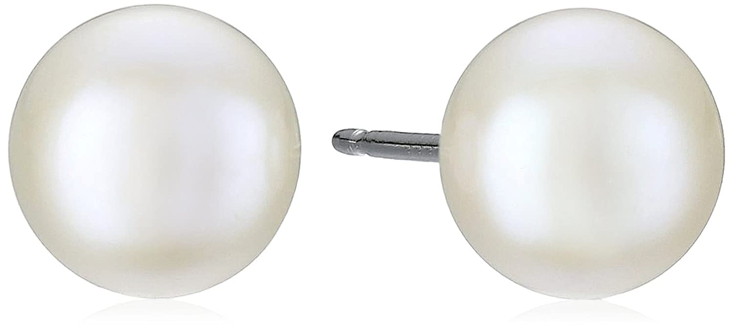 Amazon: Sterling Silver White Freshwater Culturedpearl Button Stud  Earrings (657mm): Black Pearl: Jewelry