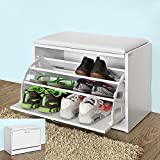 Haotian FSR16-W, White Shoe Storage Bench with Flip-drawer, Shoe Cabinet with Removable Cushioned Seat