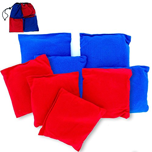 Premium Weather Resistant Duck Cloth Cornhole Bags - Set of 8 Bean Bags for Corn Hole Game - 4 Red & 4 Blue - 8 Replacement Bean Bags