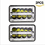 4 x 6'' Led Headlight Sealed Beam High/Low Beam With Parking Light Replace HID Xenon H4651 H4652 H4656 H4666 H6545 Fit for Peterbilt Kenworth Freightliner