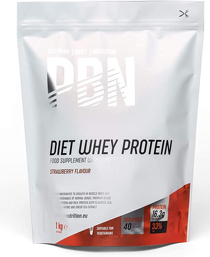 PBN - Premium Body Nutrition PBN - Paquete de proteína de suero de leche light, 1 kg (sabor fresa)