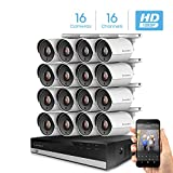 Amcrest 16CH Security Camera System Full 1080P HD-CVI Video DVR with 16X 1920TVL 2MP 1080P Indoor Outdoor Weatherproof IP67 Cameras, 2TB Hard Drive, 98ft Night Vision, Home Business (AMDV20M16-16B-W)