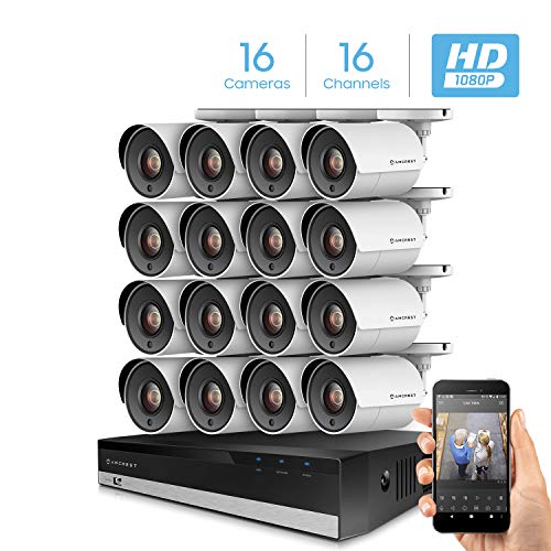 Amcrest 16CH Security Camera System Full 1080P HD-CVI Video DVR with 16X 1920TVL 2MP 1080P Indoor Outdoor Weatherproof IP67 Cameras, 2TB Hard Drive, 98ft Night Vision, Home Business (AMDV20M16-16B-W) (16ch Security Camera)