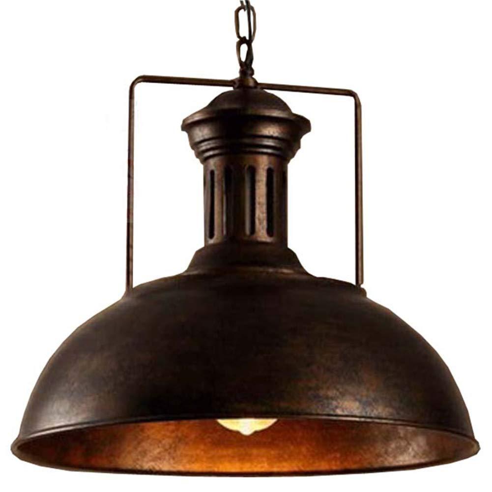 Pendelleuchte Retro Vintage 1 Strahler Kronleuchter Vintage Nostalgie Edison Industriebeleuchtung Rostfarbe landhaus Stil Lampenschirm Hängelampe für Wohnzimmer Flur Veranda Balkone Decke Lampe E27