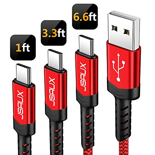 USB Type C Cable,JSAUX 3-Pack(1ft+3.3ft+6.6ft) USB-C to USB A 2.0 Fast Charger Nylon Braided Cord Compatible Samsung Galaxy S9 S8 Plus Note 9 8,Google Pixel XL,Moto Z Z2,LG V20 G6 G5 Nintendo(Red)