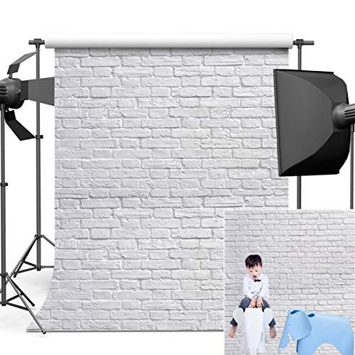 Dobeans 6ft(W) x 9ft(H) White Brick Wall Photo Background Vinyl Brick Floor Backdrop for Photographer Kids Adult]()