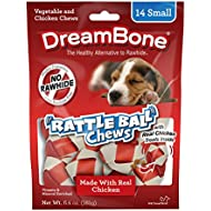 Dreambone Chicken Rattle Ball Dog Chew, Rawhide Chews, Small, 14-Count