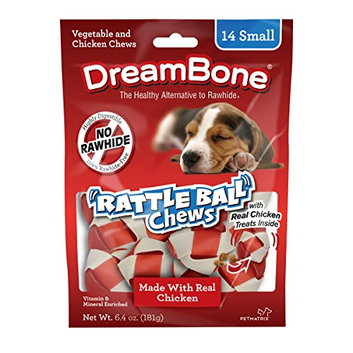 Dreambone Chicken Rattle Ball Dog Chew, Rawhide Chews, Small, 14-Count ()