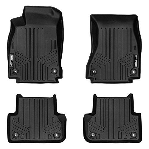 Audi S4 Set - SMARTLINER Floor Mats 2 Row Liner Set Black for 2017-2018 Audi A4 / S4 / A4 All-Road