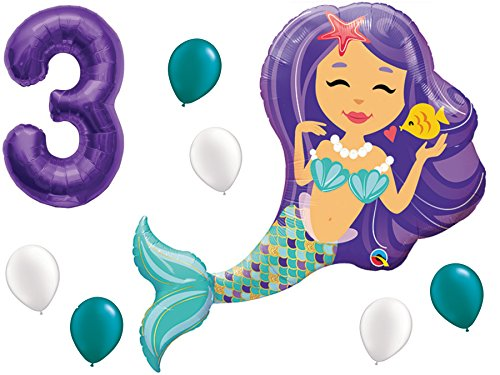 Mermaid Birthday Balloon Party Supply Set with #1-9 Number Bundle: 38