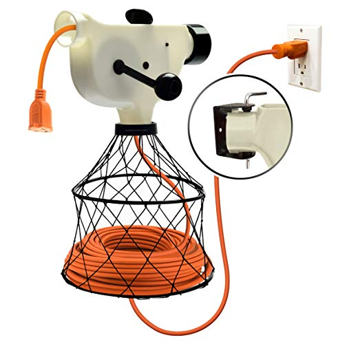 Extension Cord Reel Winder with 2 Fixed and 1 Swivel Wall Mount Brackets, Transportable from Wall to ()
