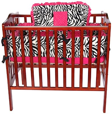 Baby Doll Zebra Minky Cradle Bedding Set, Pink by Baby Doll