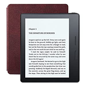"Kindle Oasis E-reader with Leather Charging Cover - Merlot, 6"" High-Resolution Display (300 ppi), Wi-Fi, Built-In Audible - Includes Special Offers (Previous Generation - 8th)"