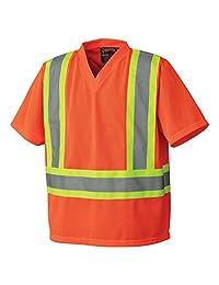 Pioneer V1050450-L Hi-Vis Traffic Safety T-Shirt, Mesh, Orange, L