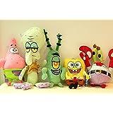 Sponge Bob Patrick Crab Plankton Octopus Snail soft Plush Stuffed Animals Doll Kids Toys 6pcs/Set
