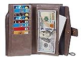 Travelambo Womens RFID Blocking Large Capacity Luxury Waxed Genuine Leather Clutch Wallet Multi Card Organizer (wax grey)