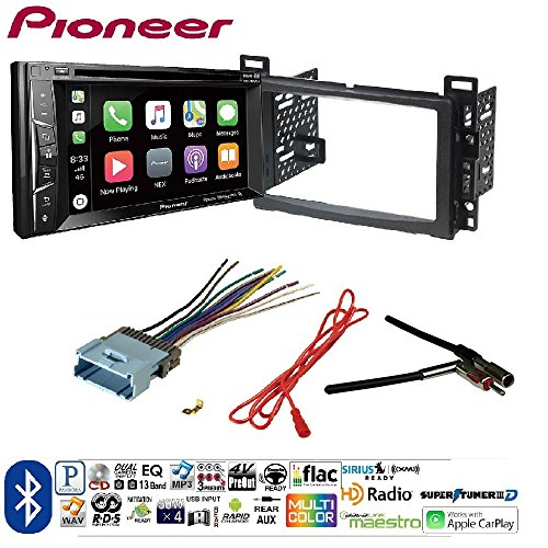 Pioneer AVH-1400NEX Double DIN Apple CarPlay In-Dash w/Touchscreen Single/Double DIN Install Kit for 2004-06 GM/Chevy Vehicles Car License Plate Rearview Camera - Black CAM810B