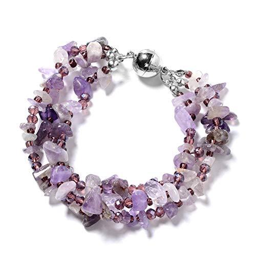 Shop-LC-Delivering-Joy-Handmade-Multi-Strand-Beaded-Silvertone-Bracelet-8-Earrings-Necklace-20-Jewelry-Gift-for-Women-Coral-Amethyst-Garnet