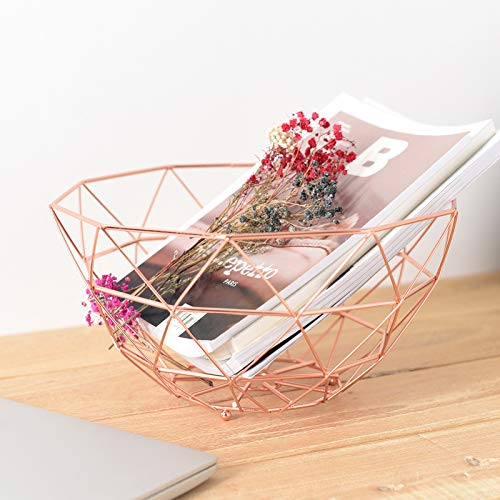 Set of 2 Countertop Wire Bread Fruit Basket Storage Holder Decorative Bowl Stand for Vegetables,Snacks(Large/Rose (Rose Bread Basket Set)