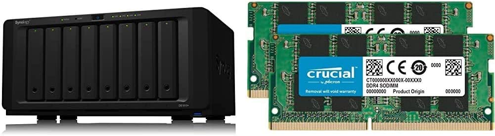 Synology 8 Bay NAS Diskstation (Diskless) (DS1819+) Bundle with Crucial 32GB Kit (16GBx2) DDR4 2400 MT/s (PC4-19200) DR x8 SODIMM 260-Pin Memory - CT2K16G4SFD824A