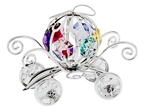 (Pumpkin Coach Silver Plated Metal Ornament with Multi-Colored Spectra Crystals by Swarovski)