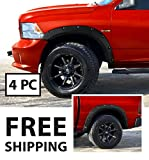 Premium Fender Flares for 2009-2018 Dodge Ram 1500; 2019 Ram 1500 Classic Fleetside Models (Excl. R/T and Rebel Models) | Smooth Matte Black Paintable Pocket Bolt-Riveted Style 4pc