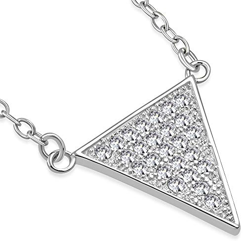 - 925 Sterling Silver White CZ Triangle Womens Pendant Necklace