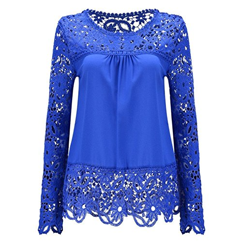 LeNG Womens Lace Shoulder Long Sleeve Blouse T Shirt Casual Lace Tops,2,Navy (Sims Jeans 2)