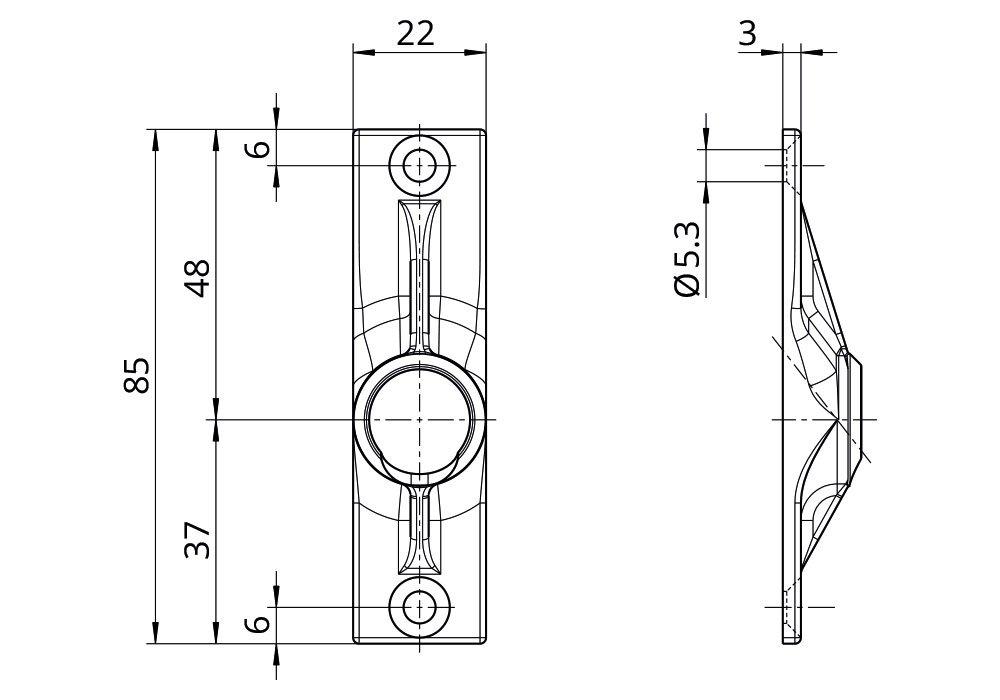 Rolladen Gelenklager G011 Kurbelzapfen Anschluss 11,9 mm DIWARO./® Grundplatte 22 x 85 mm mit 2 Befestigungsl/öcher 45 Grad Umlenkung Antrieb zum Rolladengetriebe 6 mm Vierkant