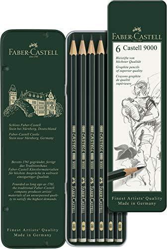 Faber Castell 119063 - Estuche de 6 lápices Castell 9000, graduación HB, B, 2B, 4B 6B y 8B, color negro, gris: Amazon.es: Oficina y papelería