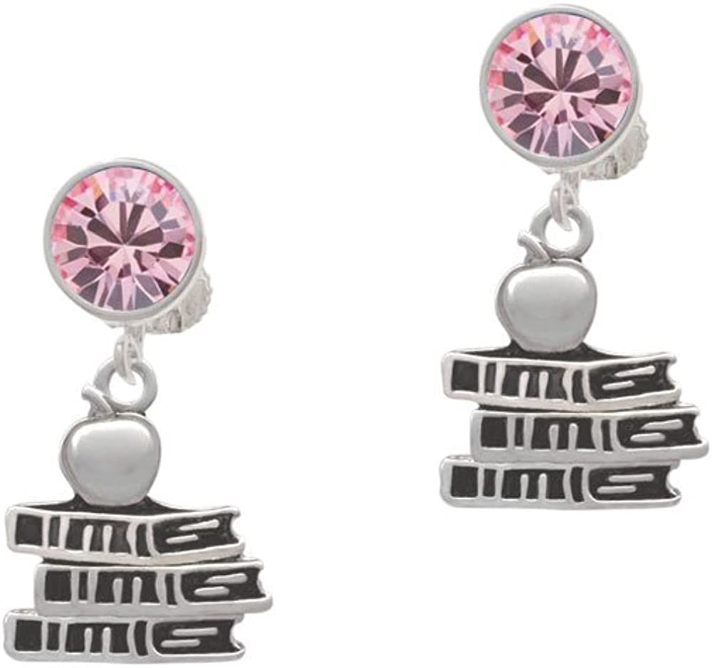 Silvertone Antiqued School Books with an Apple - Pink Crystal Clip on Earrings