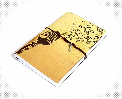 Indian Handmade Diary 8×5.5 Inch Musical Diary Office Diary Handmade Paper Diary Handmade Paper Note Book Handmade Notepad Ideal for Gifts, Writing, D…