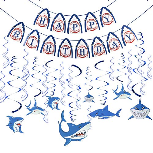 Konsait Shark Happy Birthday Banner Hanging Swirl Decoration Home Ceiling Wall Decor for Shark Zone Under the Sea Themed Splash Party Baby Shower Birthday Party Favor Supplies Decor for Kids (31Pack)]()