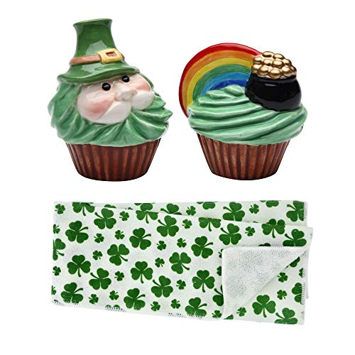 Leprechaun and Rainbow Pot of Gold Salt and Pepper Shakers with St. Patrick's Day Shamrock Polyester Hand Towels Set -