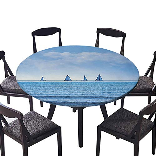 SATVSHOP 100% Polyester, Everyday Kitchen Tablecloth for Outdoor Picnics-35 Round-Nautical acing Yachts on The Ocean Water egatta ace Panoramic Distant View elax Win Photo Light Blue.(Elastic Edge) (Ace Crochet Patterns)