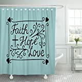 TOMPOP Shower Curtain Hand Lettering Faith Hope and Love with Cross Hearts Bible Verse Christian New Testament Modern Waterproof Polyester Fabric 72 x 72 inches Set with Hooks