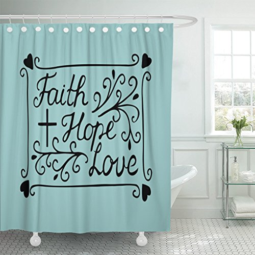TOMPOP Shower Curtain Hand Lettering Faith Hope and Love with Cross Hearts Bible Verse Christian New Testament Modern Waterproof Polyester Fabric 72 x 72 inches Set with Hooks by TOMPOP