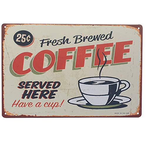 (UNIQUELOVER Fresh Brewed Coffee Served Here Have A Cup Retro Vintage Tin Sign 12