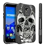 Untouchble Case for LG Stylo 3 Plus Hard Case| Stylo 3 Plus Case [Traveler Series] Durable Two Layer Bumper Shell with Kickstand - Rose Petal Skull