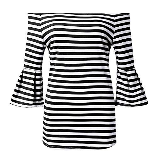 (Sunhusing Women Spring Solid Color Off-Shoulder Stripe Print T-Shirt Casual Trumpet Sleeve Long Sleeve Top Black)