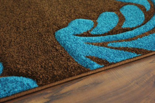Amazon.com: Havana 916 Coffee Brown And Turquoise Leaf Print Design Rug  2u00274