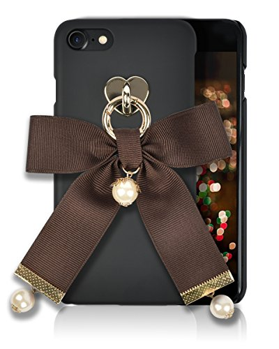 iphone 8 / 7 Fashion Case [HandMade Stripe Ribbon Series] Silky SF Coating Hard PC [Detachable Ring, Ivory Faux Pearl] Ultra Slim, Light Weight, Apple iphone 7/8 Cover (Brown)