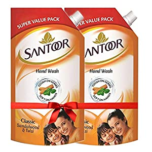 Santoor Classic Gentle Hand Wash, 750ml (Pack of 2) with Natural goodness of Sandalwood & Tulsi