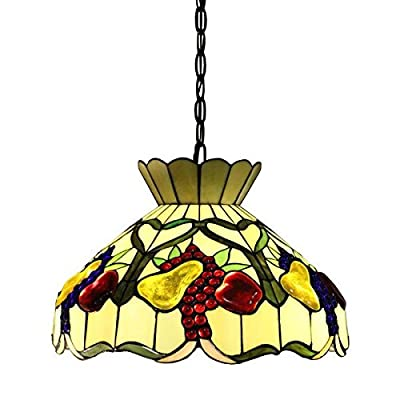 Alliena 2-light Fruit Basket 16-inch Multi-color Tiffany-style Ceiling Lamp