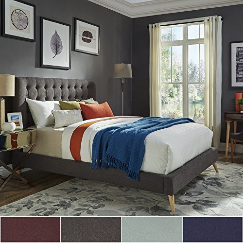 Inspire Q Niels Danish Modern Tufted Fabric Upholstered King Size Bed Modern 514Zhzv9PzL