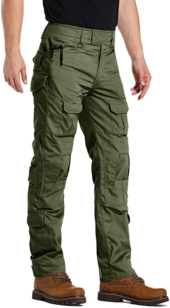 NAVEKULL Mens Outdoor Tactical Pants Rip Stop Lightweight Waterproof Military Combat Cargo Work Hiking Pants