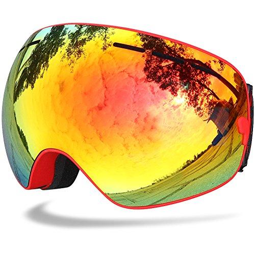 Samdo Snowmobile Snowboard Skate Ski Goggles Ski Eyewear with Mirror Coating Anti-Fog and UV 400 Protection Lens Helmet Compatible (Red Revo, (Mirror Ski Snowboard)