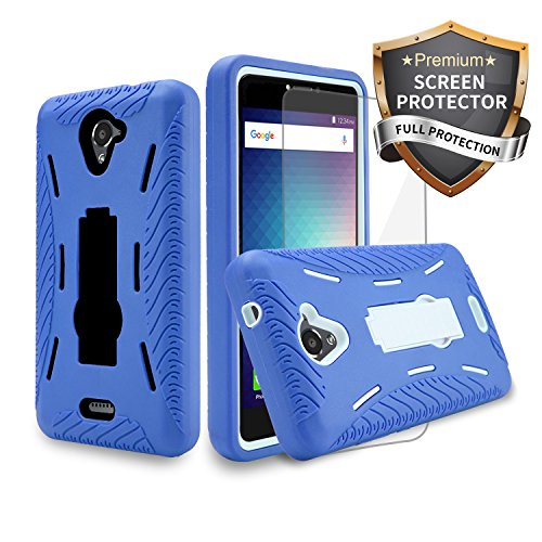 (BLU R1 Plus R0071UU Case Heavy Duty Rugged Hard Cover Hybrid Dual Layer Shock-Absorption Anti-Scratch Protection Kickstand Case with Screen Protector Plastic Film (HVD Blue Black + SP))