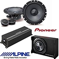 Pioneer TS-SWX2502 10 inch Shallow-Mount Pre-Loaded Enclosure W/ Alpine 6-1/2 Component 2-Way Type-S Speaker System /Alpine 4-channel Power Pack Amplifier