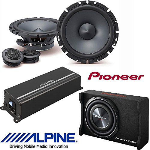 Pioneer Ts Swx2502 10 Inch Shallow Mount Pre Loaded Enclosure W  Alpine 6 1 2  Component 2 Way Type S Speaker System  Alpine 4 Channel Power Pack Amplifier